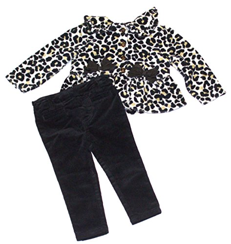 Hartstrings Infant Girl's 2 Piece Animal Print Jacket and Velvet Pant Set (18 Months)