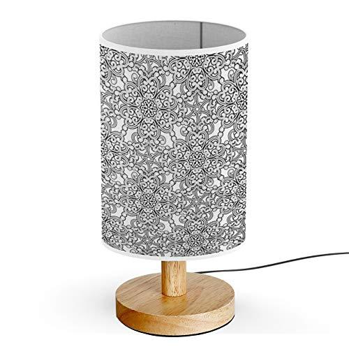 ARTSYLAMP - Wood Base Decoration Desk Table Bedside Light Lamp [ Vintage Black White ] ()