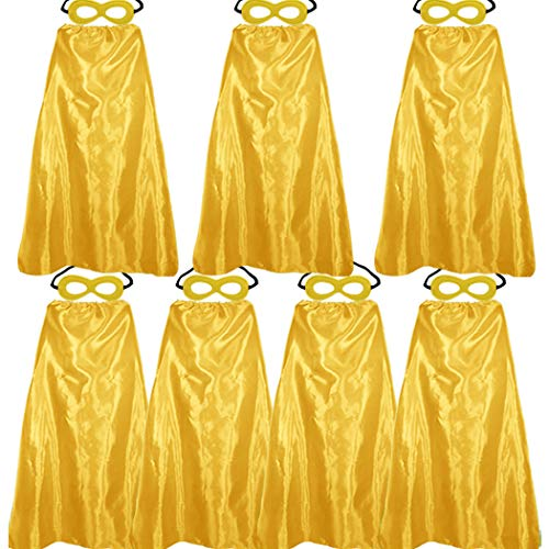 D.Q.Z Superhero Capes and Masks for Adults Bulk Dress Up Party-7 Pack (Gold)