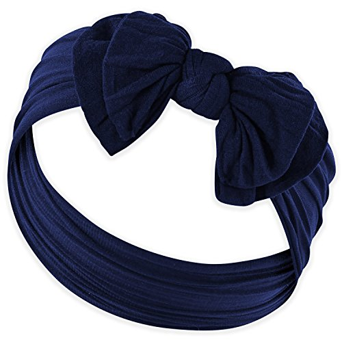 (DOUBLE BOW FAVORITE BABY HEADBANDS - Baby Headband For Newborn Headbands and Baby Girls Headbands,Dark Navy,Newborn and Up)