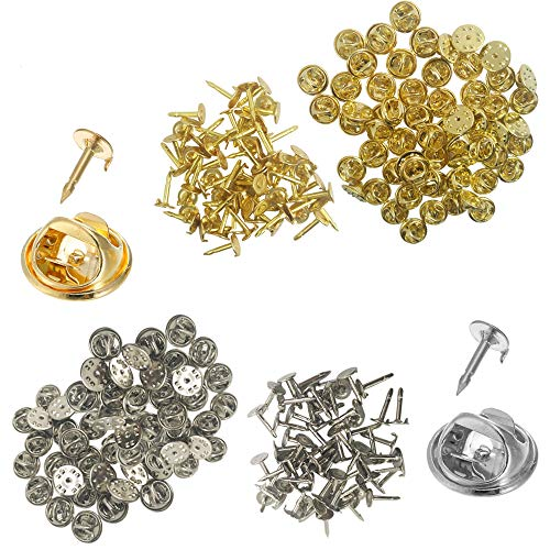 YuCool 120 Pack Butterfly Clutch with Blank Pins, Pin Backs Tie Tacks Replacement for Craft& Jewelry Making -(60 Silver and 60 Gold)