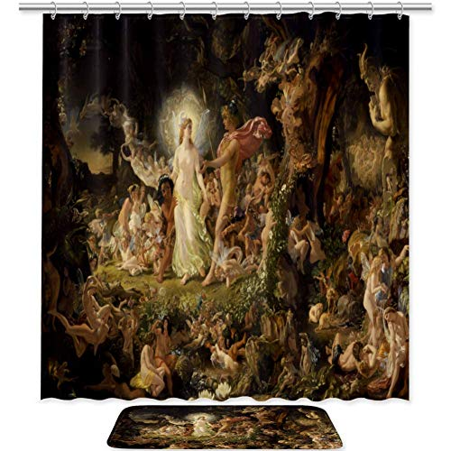 Anna Cowper Set of 2 The Quarrel of Oberon and Titania 71 X 71 Inches Shower Curtain and Mat Set Waterproof Fabric Bathroom Curtain and Rug Set with Hooks