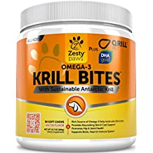 Omega 3 Krill Oil Chewables for Dogs - Hip & Joint + Skin & Coat Health Supplement - With Qrill Pet Meal & DHAgold - Brain, Heart & Immune Support - With Sustainable Antarctic Krill - 90 Soft Chews