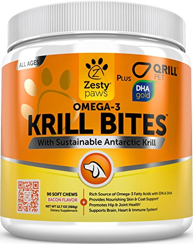 Omega 3 Krill Oil Chewables for Dogs - Hip & Joint + Skin & Coat Health Supplement - With Qrill Pet Meal & DHAgold - Brain, Heart & Immune Support - From Sustainable Antarctic Krill - 90 Soft Chews