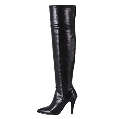 edfe1bbf516f Mee Shoes Womens Knee-high High-Heel Western Boots Black  Amazon.co ...