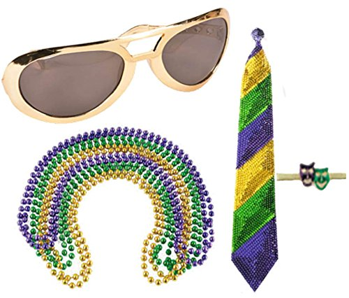 [Mardi Gras Beads Tie Party Accessory Costume Set Kit Bundle Purple Gold Green Comedy Tragedy Mask Tie Pin Beads Novelty Jumbo] (Hat Mardi Gras Costumes Accessories)