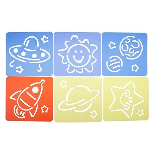 Perfk ステンシルシート 教育ツール 興味 DIY 工芸品 6個 子供向け ステンシルルーラー かわいい