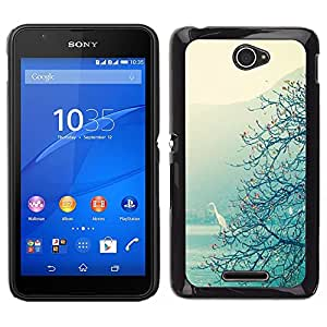 For Sony Xperia E4 , S-type® Lake Tree View Mist Magical - Arte & diseño plástico duro Fundas Cover Cubre Hard Case Cover