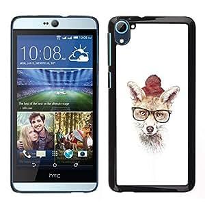 // PHONE CASE GIFT // Duro Estuche protector PC Cáscara Plástico Carcasa Funda Hard Protective Case for HTC Desire D826 / Hipster Fox lindo /