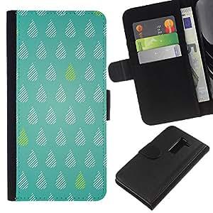LG G2 / D800 / D802 / D803 / VS980 Modelo colorido cuero carpeta tirón caso cubierta piel Holster Funda protección - Tears Green Rain Raindrops Pattern Polka Dot