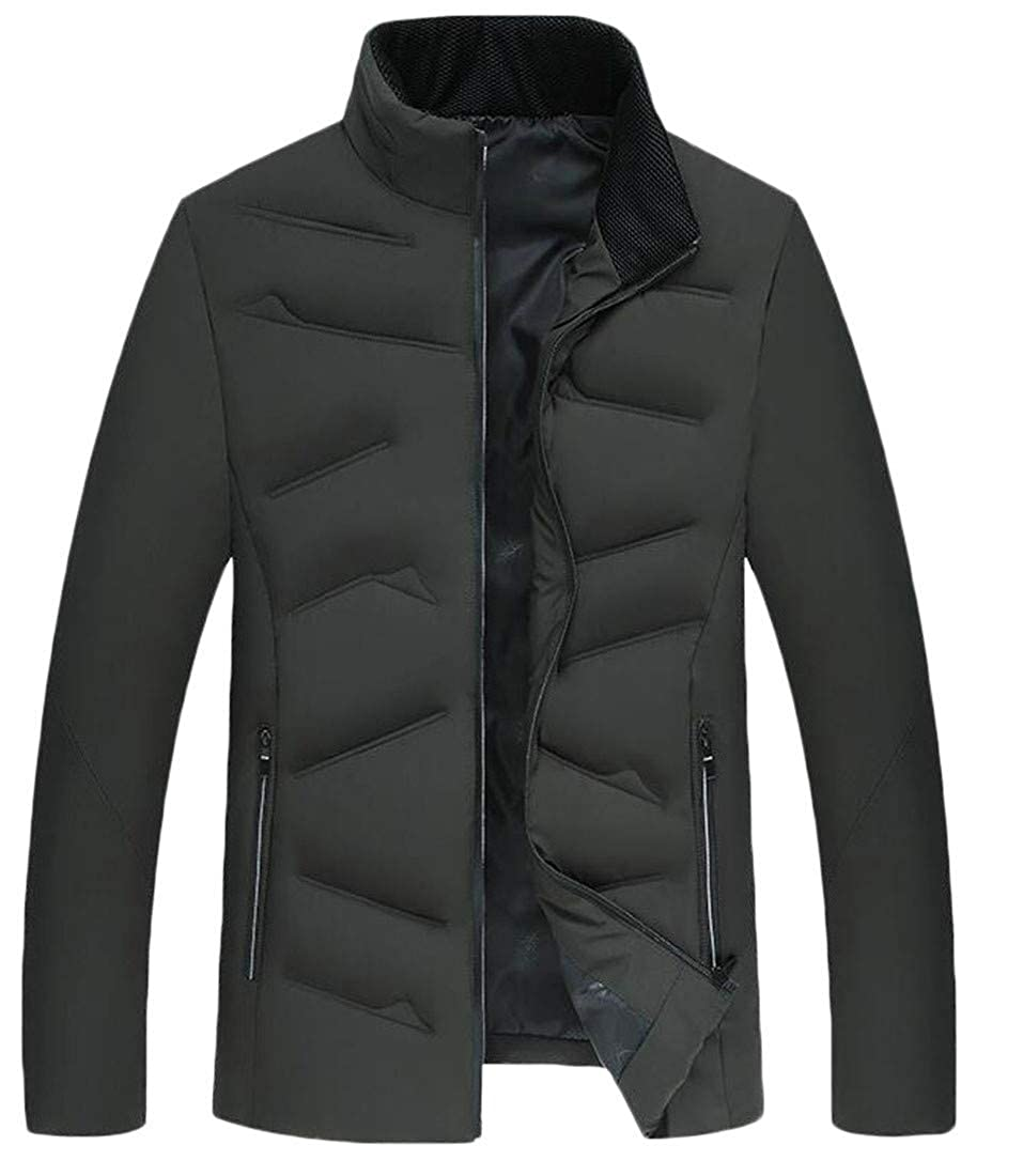 Joe Wenko Mens Casual Stand Collar Puffer Zip Up Cotton-Padded Parkas Coat