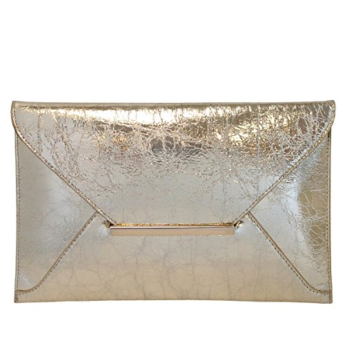 Crushed Metallic Envelope Clutch, Gold