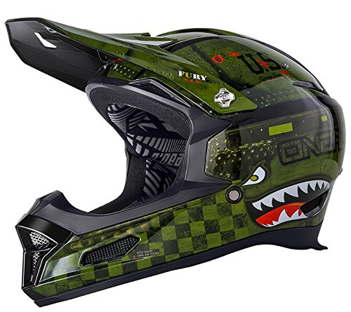 Full Face Fury Helmet - O'Neal Fury RL II Warhawk BMX or Mountain Bike Helmet (Green; Medium)