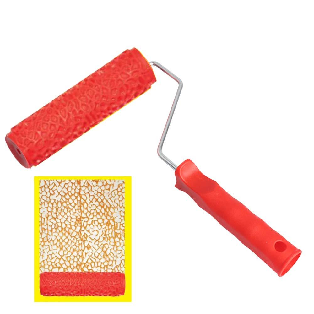 KKmoon Herramientas decorativas de pintura en relieve de patr/ón,rodillo de pintura decorativa para pared de goma,m/áquina de pintura sin aire cepillo de hogar