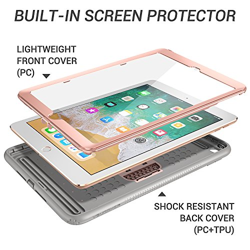 New iPad 2017 9.7 inch Case, YOUMAKER Heavy Duty Kickstand Shockproof Protective Case Cover for Apple New iPad 9.7 inch (2017 Version) with Built-in Screen Protector (Rose Gold/Gray) by YOUMAKER (Image #3)