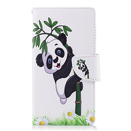Og Sony Fargerikt Elegant ma Dekselet Sony Bok Panda støtten Xperia Flip plasser Retro Bambus Vakre Saken 3d Kort Euwly Beskyttelsesetui L2 kontanter Pu Skinn Lommebok Mønster zYwnn1g