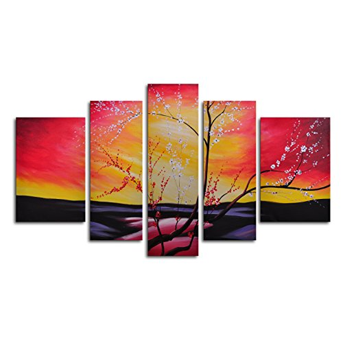 TJie Art Hand Painted Mordern Oil Paintings The Great Beyond 5, For indoor use 5-piece wall art in classic style, Hand-painted artwork on canvas, Landscape theme in a mix of yellow red and pink, Dimensions: 68W x 40H in