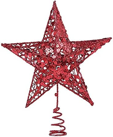Christmas Tree Topper Star Red Five-Pointed Star Christmas Decoration Supplies Tree Top Star Sequins Vertical for Christmas Tree Ornament GTWIN Five-Pointed Star Wrought Iron Ornaments