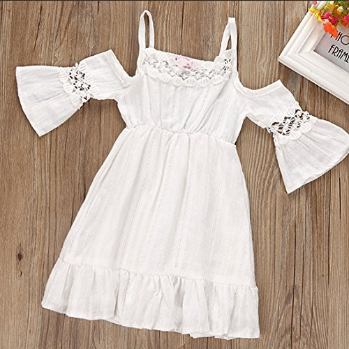Kids Baby Girls Off-Shoulder Princess Party Wedding Dresses Beach Sundress size 1-2 Years (White)