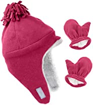 Unisex Baby Winter Hat with Earflap Winter Hat and Gloves for Toddler Kids Micro Fleece Hats Mittens Set for B