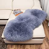 lililili Faux fur sheepskin rug,Kids carpet home décor accent for a kid's room,Childrens bedroom, Nursery, Living room or bath.Bay window blanket,Sofa cover-gray 50x65cm(20x26inch)