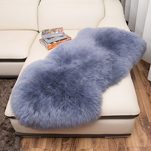 lililili Faux fur sheepskin rug,Kids carpet home décor accent for a kid's room,Childrens bedroom, Nursery, Living room or bath.Bay window blanket,Sofa cover-gray 50x65cm(20x26inch) by lililili