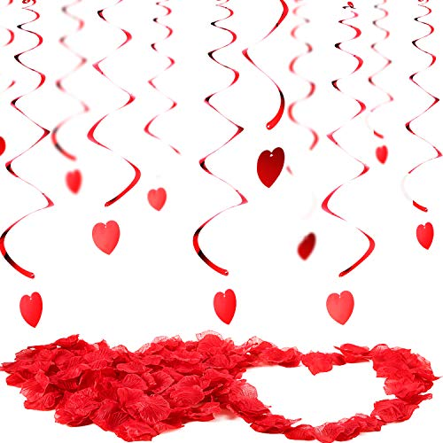 - Tatuo Valentines Day Decorations 30 Pieces Hanging Heart Swirls and 200 Counts Artificial Red Rose Petals Hanging Decorations for Ceiling Anniversary Wedding Birthday Bridal Shower Bachelorette Party