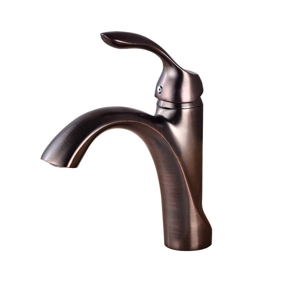 Metallic Bathroom Sink Faucet - Waterfall Antique Brass Centeral Single Handle One Hole Bath Taps,Brass