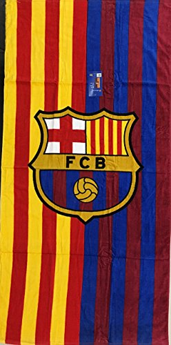 MES QUE UN CLUB FC Barcelona Soccer Team Two Tone Beach Towel (Football Barcelona Club)