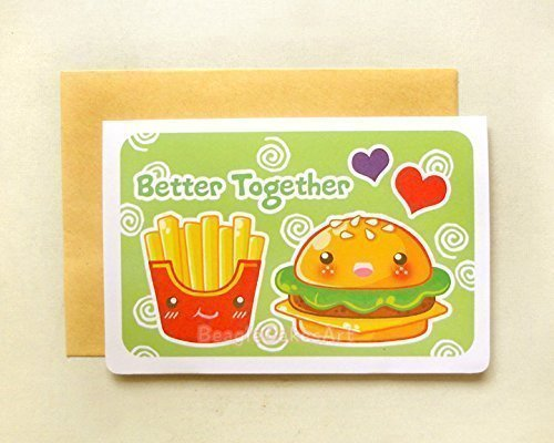 Amazon Burger Fries Better Together Notecard Cute Food – Food Valentines Day Cards