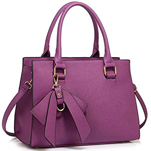Ladies Faux Bow Designer With Cws00258 Quality Handbags Celebrity Tote Cws00374a Bag Women's Bags Leather Grab Bag Strap purple Long Fashion Patent rOwrpqPS