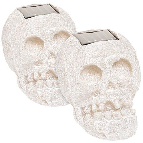 (2 Pack) SKULLar Translucent Solar LED Outdoor Skull Fright Light (White)