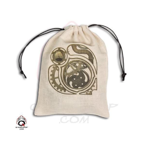 Q-Workshop: Large Steampunk Dice Bag in Linen - Oversized by Q Workshop 3