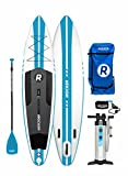 "iROCKER Inflatable Sport Stand Up Paddle Board 11' Long 30"" Wide 6"" Thick SUP Package (Blue Stripe 2018)"