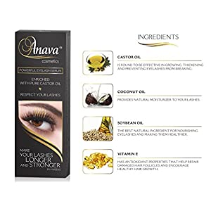 Anava Eyelash Growth Serum (6-Months Supply) All Natural Enhancing Treatment for Falling, Thinning Lashes, Nourishing & Thickening Conditioner - Healthy, Thick, Long & Strong Lashes in 4 - 8 Weeks