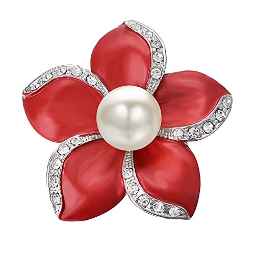 Large Pearl Brooch (Yoursfs Red Flower Brooch Pin 5 Petals Cutured Pearl Crystal Edging Scarf Sweater Women Jewelry)