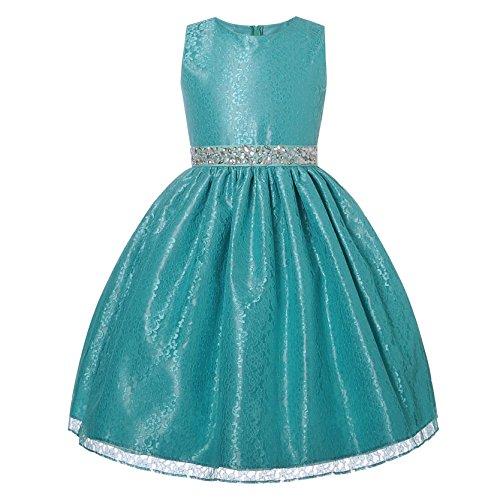 NancyAugust Lace Rhinestone Flower Girl Dress 2-12 (8, Mint) (Sparkly Fancy Dress)