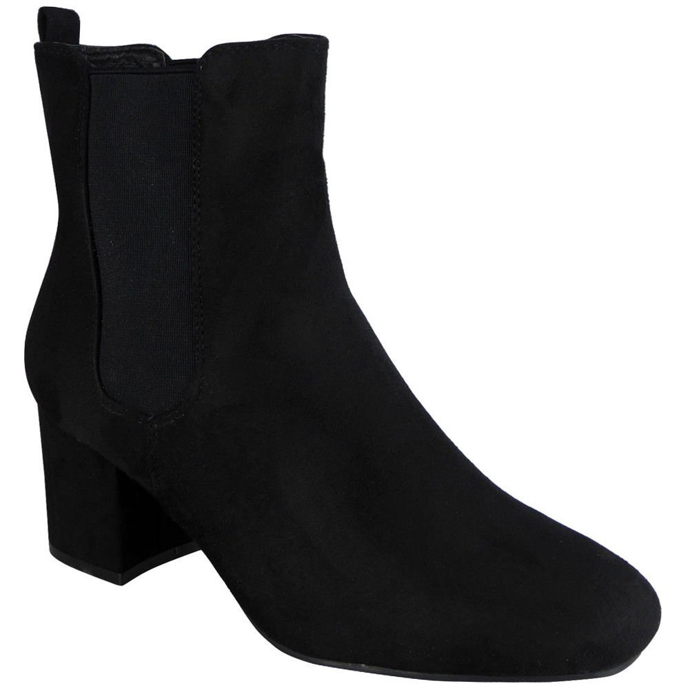 defebc2122f7 Womens Ladies Faux Suede Low Cuban Heel Stretch Chelsea Ankle Boots Shoes  Size 5  Amazon.co.uk  Shoes   Bags