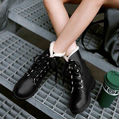 Forro AIURBAG de Otoño Mujer de Botas Botas Combate el nieve de Botas black redondo Semicuero Invierno Dedo hasta Zapatos pelusa Tobillo Botas AgAqZ
