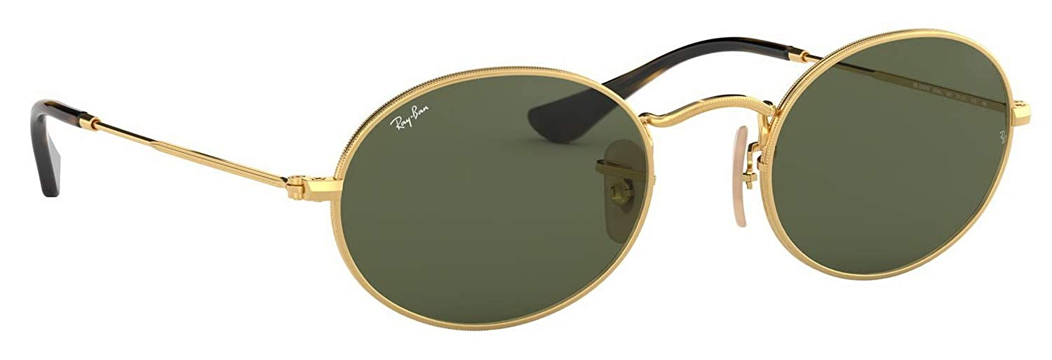 e1ae9b0e82d Amazon.com  Ray-Ban RB3547N Ovall Flat Lens Unisex Sunglasses Gold 001 -  48mm  Clothing