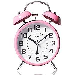 Bell Alarm Clock Mute Quartz Movement Silent Clock Loud Digital Clock 4 Inch Pink