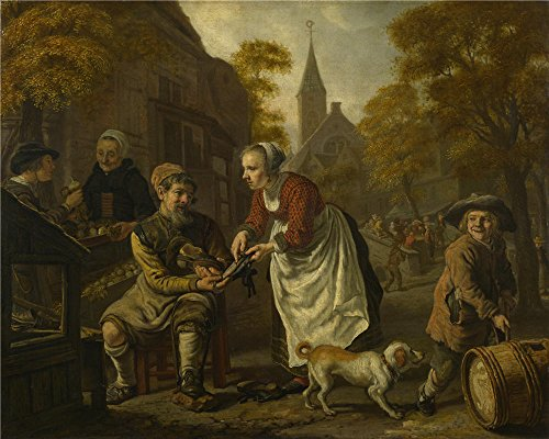 High Quality Polyster Canvas ,the Imitations Art DecorativeCanvas Prints Of Oil Painting 'Jan Victors A Village Scene With A Cobbler ', 8 X 10 Inch / 20 X 25 Cm Is Best For Laundry Room Gallery Art And Home Decor And Gifts