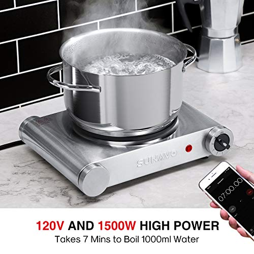 SUNAVO Hot Plate for Cooking Electric Single Burner, 1500W Portable Burner Electric Stainless Steel