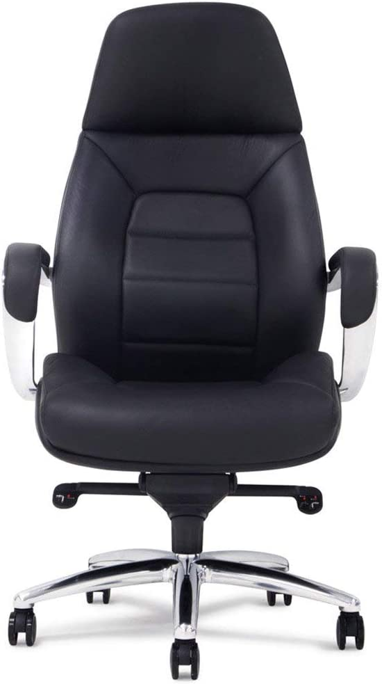 Gates Genuine Leather Aluminum Base High Back Executive Chair - Black