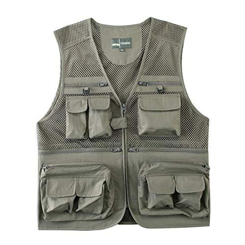 (Ziker Men's Mesh Breathable Openwork Camouflage Journalist Photographer Fishing Vest Waistcoat Jacket Coat (Light Khaki, Large))
