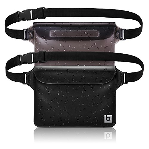 Waterproof Pouch with Waist Strap (2 Pack) | Best Way to Keep Your Phone and Valuables Safe and Dry | Perfect for Boating Swimming Snorkeling Kayaking Beach Pool Water Parks ()