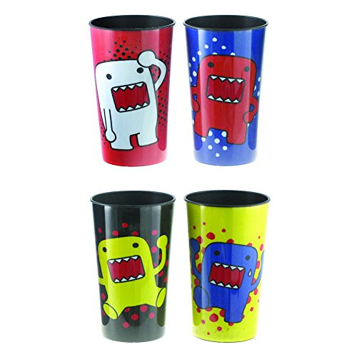 Japanese Character Set (Domo Kun Japanese Animated Character Set of 4 Cups Party Plastic Drinking Glasses)