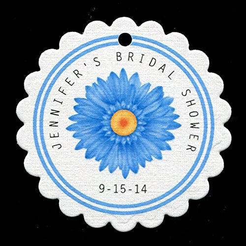 (Personalized Bridal Shower Favor Tags with Blue Daisy, Personalized (set of 25))