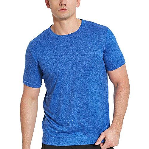 Men's Cotton Athletic T-Shirts, Short Sleeve Crew Neck Workout Tees, Blue L - Cotton Performance Short Sleeve Tee