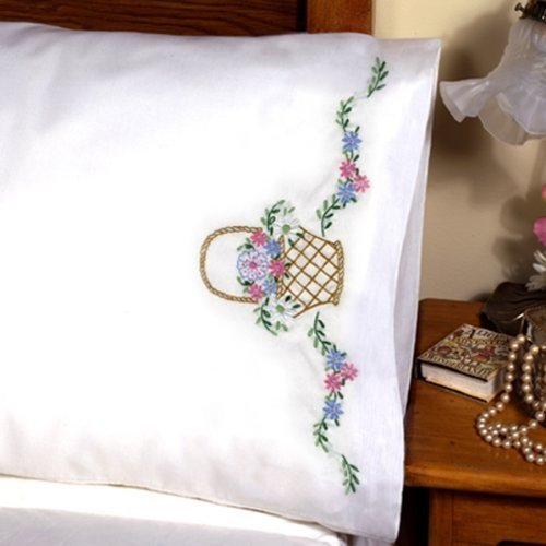 - Tobin Stamped Pillowcase Pair for Embroidery, 20 by 30-Inch, Flower Basket